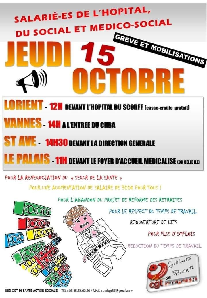 Quatre manifs pour la santé le 15 octobre dans le Morbihan