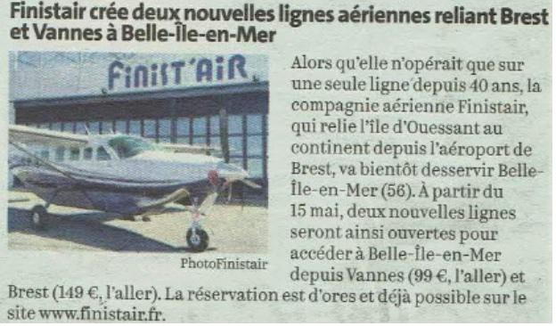 Stop aux navettes aériennes sur Belle-Ile-en-Mer
